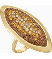 anello evil eye, grande, marrone, placcato oro