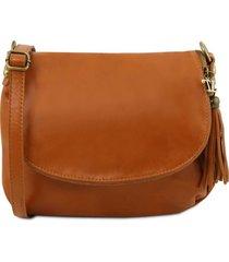 tuscany leather tl141223 tl bag - borsa morbida a tracolla con nappa cognac