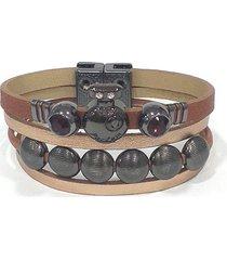 pulseira armazem rr bijoux couro parfum cristais terracota grafite - cobre - feminino - dafiti