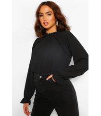 blouse met ruches en hoge hals, zwart