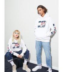 tommy hilfiger women's tommy jeans x mtv hoodie ivory silk - l