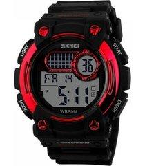 relógio  skmei digital 1054 preto e vermelho