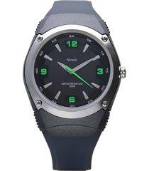miami - orologio cinturino nero in silicone, cassa in acciaio e dettagli verdi per uomo