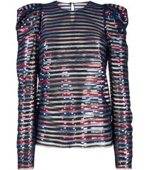 philosophy di lorenzo serafini structured shoulder sequin top - blue