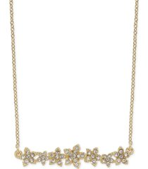 """inc international concepts crystal cluster flower horizontal bar pendant necklace, 16"""" + 3"""" extender, created for macy's"""