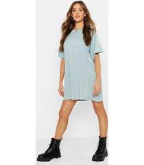o ring zip detail t shirt dress, turquoise