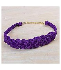 rope belt, 'modern braids in amethyst' (peru)