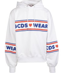 man white hoodie with gcds wear ribbons