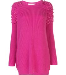 michelle mason pearl embellished jumper dress - pink