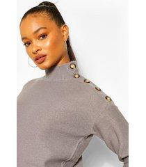 button shoulder detail sweater, mid grey