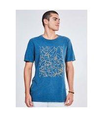 camiseta marmorizada estampa linhas