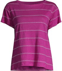 eileen fisher women's striped organic linen jersey t-shirt - white - size s