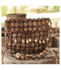coconut shell shoulder bag, 'bouquets' (large) (thailand)