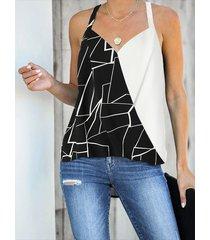 yoins negro patchwork wrap diseño camisón sin mangas halter