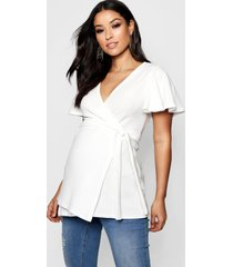 maternity crepe wrap top, ivory