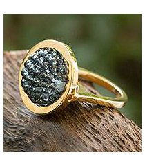 gold plated cocktail ring, 'gray meridian' (mexico)