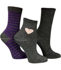 love sock company 3 pack women's funky shimmer socks bundle by
