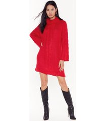 womens brushed fluffy roll neck cable jumper dress - red