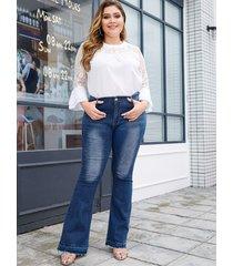 plus size blue button design denim super stretch jeans
