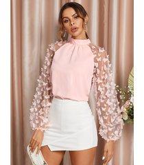 yoins blusa con mangas abullonadas y retales de malla de mariposa