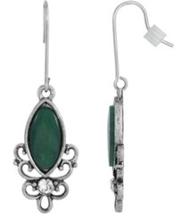 2028 sterling silver wire genuine stone chrysoprase earrings