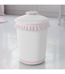 lixeira bebe menina branco/rosa nina luxuosa grão de gente rosa