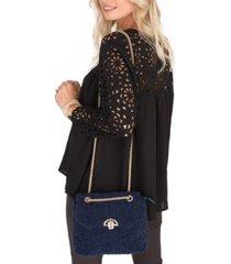 two's company pandora shaggy box handbag with chain strap
