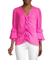kobi halperin women's demy ruffle silk blouse - blossom - size xs