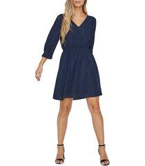 women's vero moda vonnie long sleeve dress, size medium - blue