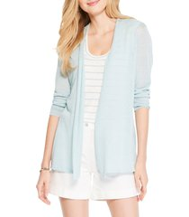 women's nic+zoe breezy linen blend cardigan, size x-small - blue