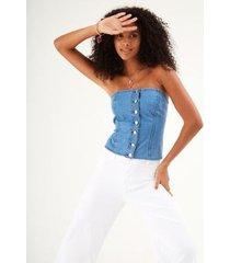 corselet jeans zinzane botões feminino - feminino