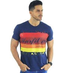 camiseta hombre manga corta slim fit azul marfil exclusive