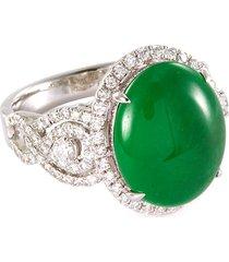 diamond jade 18k white gold ring