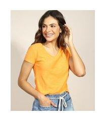 camiseta flamê de algodão básica manga curta decote v laranja