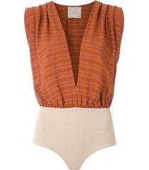 framed mahini draped bodysuit - marrom