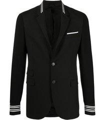 neil barrett blazer com listras e acabamento canelado - preto