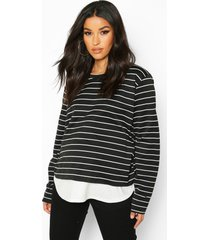 maternity stripe 2 in 1 raw edge top, black