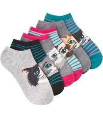 k. bell women's cat faces ankle socks six pair pack