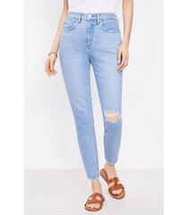 loft petite curvy destructed high rise skinny ankle jeans in vivid light indigo wash