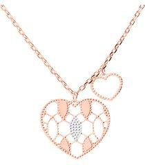 collana in bronzo rosato con pendente cuore e cuore vuoto per donna