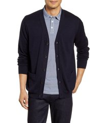 men's nordstrom men's shop v-neck cardigan, size small - blue