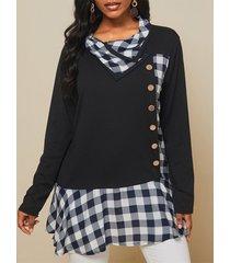 camicetta casual bavero manica lunga patchwork plaid