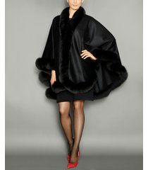 the fur vault fox-fur-trim cashmere cape