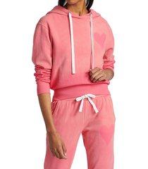 chrldr women's heart stencil cropped hoodie - hot pink - size xl
