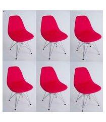 kit com 06 capas para cadeira base madeira eiffel wood vermelho