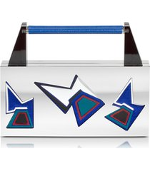 avril 8790 designer handbags, ziggy two faces palladium plated brass and viscose clutch