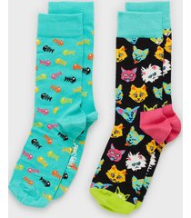 happy socks cat gift box strumpor mönstrad