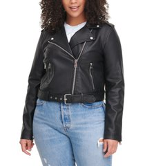 levi's trendy plus size faux-leather belted moto jacket