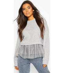 2 in 1 mesh sweat top, grey