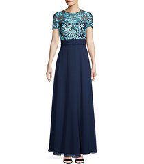 embroidered illusion flare gown